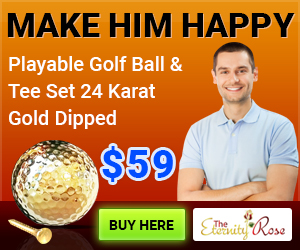 24K Gold Golf Ball and Tea Set